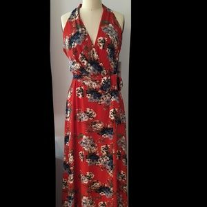 Chetta B floral halter maxi dress